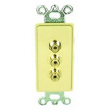 Single Gang Decora Wall Plate in Black (RCA(3) Yellow, Red, White- Passthru)