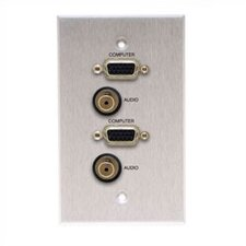 Wallplate with 2 HD15 and 2 Stereo Mini Connectors