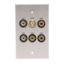 Wallplate with BNC and 5 RCA Connectors