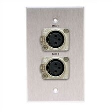 Wallplate with 2 Latching XLR-Female Connectors