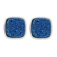 Druzy Sterling Silver Cushion Stud Earrings