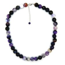Fashion Sterling Silver Banded Agate Faceted Fashion Necklace