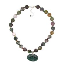 Fashion Sterling Silver Jasper Heart Bead Fashion Necklace