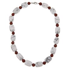 Fashion Sterling Silver Howlite Necklace