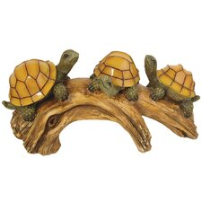 Turtles on a Log with Glowing Shells Light