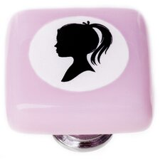 "New Vintage 1.25"" Little Girl Cameo Square Knob"