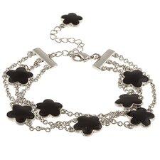 Silvertone Enamel Three Strand Bracelet