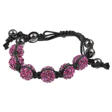 Pave Fuchsia Crystal Beaded Macrame Adjustable Bracelet
