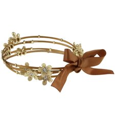 Stainless Steel and Large Crystal Flower Bangles (Set of 4)