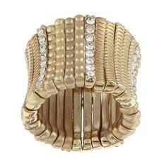 Satin Goldtone Crystal Stretch Ring