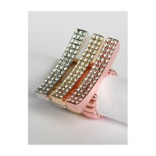 Three Tone Pave Crystal Elongated Bar Stretch Rings (Set of 3)