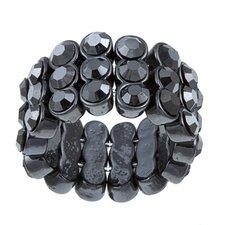 Gunmetal Crystal 3-Row Stretch Fashion Ring