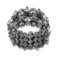 <strong>Zirconmania</strong> Gunmetal Crystal 5-Row Stretch Fashion Ring