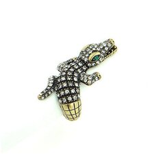 Goldtone Crystal Aligator Stretch Ring