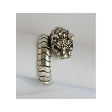 Silvertone Crystal Panther Stretch Ring