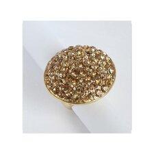 Goldtone Topaz Crystal Pave Oversized Stretch Ring
