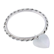Dangling Heart Charm Bangle Bracelet