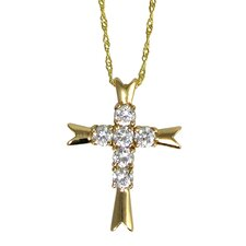 Round Cubic Zirconia Cross Necklace