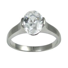 Oval Cut Cubic Zirconia Solitaire Engagement Ring