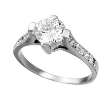 Round Cut Cubic Zirconia Cathedral Setting Engagement Ring