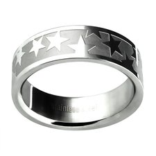 Men's Etched Star Wedding Band Ring