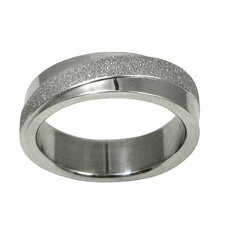 Stainless Steel Diamond Cut Texture Diagonal Band Ring