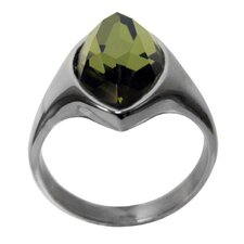 Marquise-Shaped Glass Band Ring