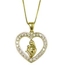Channel-set Cubic Zirconia Heart with Mother and Child Pendant