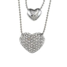 Overlay Pave Crystal Puff Heart Double Necklace