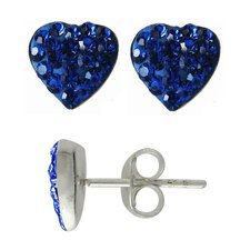 Crystal Heart-Shaped Stud Earrings