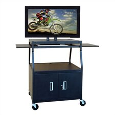 Wide Body Flat Panel TV Cart with Locking Cabinet
