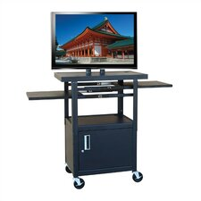 "Flat Panel AV Cart with Locking Cabinet (Adjustable 26""-42"" H)"