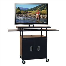 "Flat Panel AV Cart with Locking Cabinet (Adjustable 34""-52"" H)"
