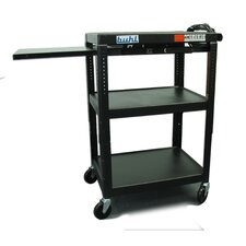 Height Adjustable AV Media Cart - Three Stationary Shelves / Pull-Out Shelf