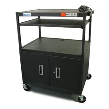 Height Adjustable AV Media Cart with Security Cabinet - Two Stationary Shelves / Laptop Shelf