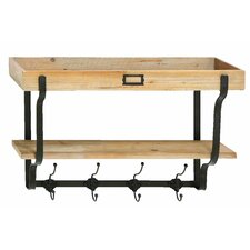 Multi Level Wall Shelf with Coat Rack