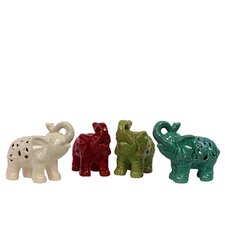 Unique Ceramic Elephants Figurine (Set of 4)
