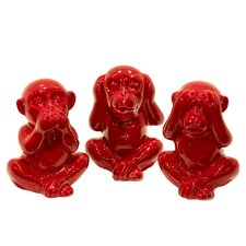 3 Piece Modern Trendy Bright Monkeys Figurine Set