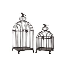 2 Piece Simple and Classy Metal Bird Cage Set