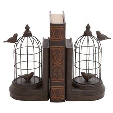 Metal and Polystone Bird Cage Book Ends (Set of 2)