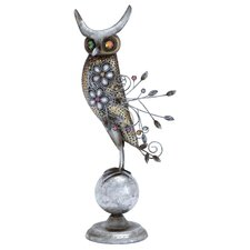 Metal Owl Perched Globe Statue