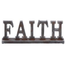 "Classic Table with Word ""Faith"" Statue"