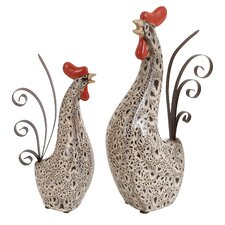 <strong>Woodland Imports</strong> 2 Piece Rooster Figurine Set
