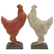 2 Piece Rooster Assorted Figurine