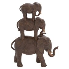 Polystone Elephant Stack of Three Figurine