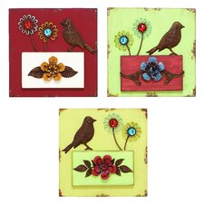 <strong>Woodland Imports</strong> Scrapbook 3 Piece Blooming Garden Wall Décor Set
