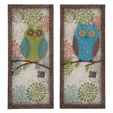 <strong>Woodland Imports</strong> 2 Piece Austere Customary Owl Wall Décor Set
