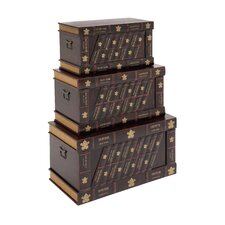 The Nostalgic 3 Piece Wood Faux Leather Trunk Set