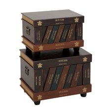 The Lovely 2 Piece Wood Faux Leather Trunk Set