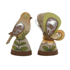 The Sweetest Polystone 2 Piece Solar Bird and Butterfly Statue Set